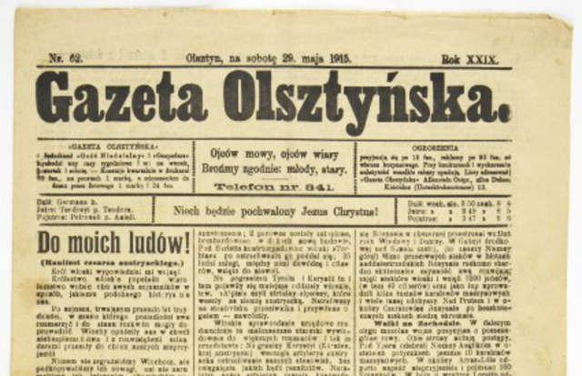 """Gazeta Olsztyńska"""" z 1915 r. – unikatowy egzemplarz z lat Wielkiej Wojny. - full image"""