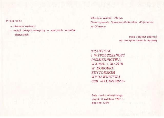 """Otwarcie wystawy Tradycja i współczesność piśmiennictwa Warmii i Mazur w dorobku edytorskim Wydawnictwa SSK """"Pojezierze"""". - full image"""