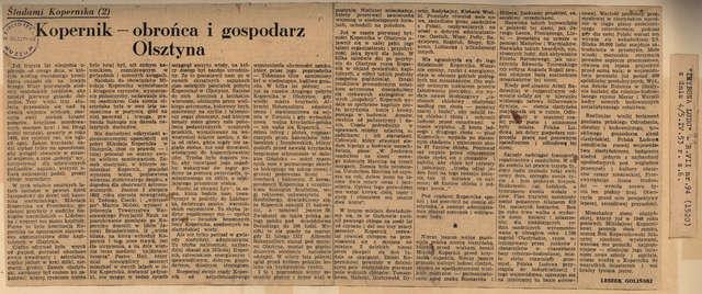 """""""Trybuna Ludu"""" opublikowała drugi odcinek eseju Leszka Golińskiego na kanwie pobytu Kopernika w Olsztynie.  - full image"""