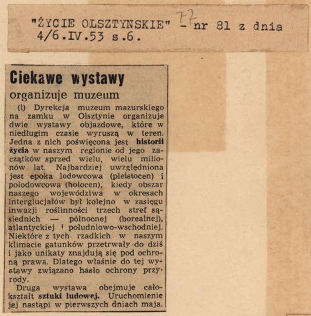 """""""Życie Olsztyńskie"""" donosi: dwie wystawy objazdowe (jedna poświęcona historii życia, druga – sztuce ludowej) niebawem wyruszą w teren.  - full image"""