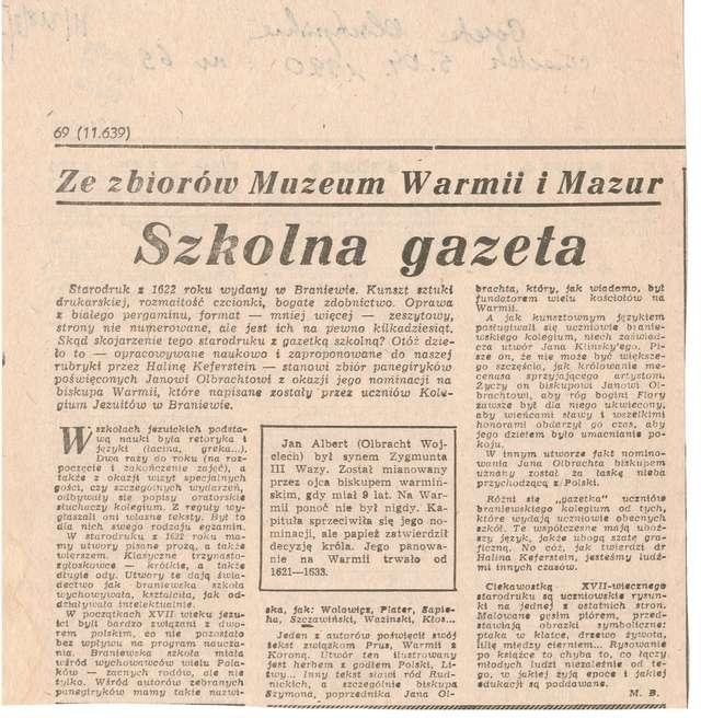 """W """"Gazecie Olsztyńskiej"""" (cykl Ze zbiorów Muzeum Warmii i Mazur) ukazał się artykuł Marlety Bułatek.  - full image"""