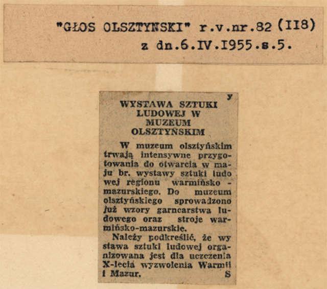 """""""Głos Olsztyński"""" informuje, że trwają intensywne przygotowania do wystawy sztuki ludowej, która ma być otwarta w maju.  - full image"""