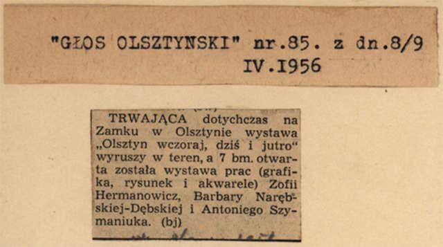 Na zamku w Olsztynie otwarto wystawę grafik, rysunku i akwareli Zofii Hermanowicz, Barbary Narębskiej-Dębskiej i Antoniego Szymaniuka.  - full image