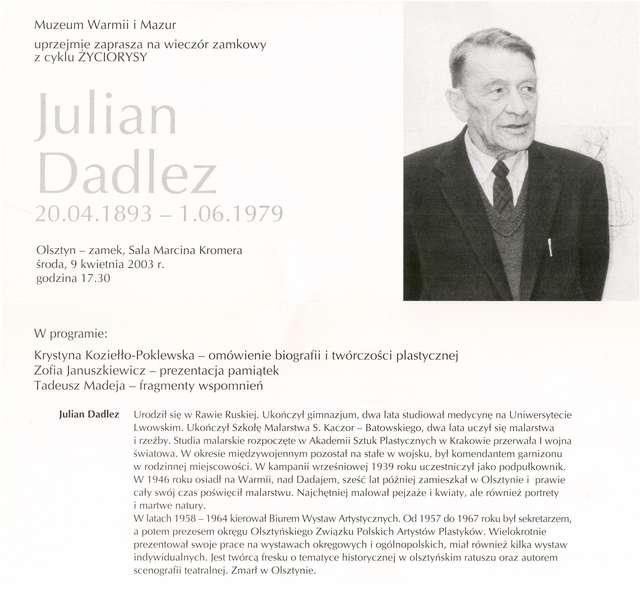 Julian Dadlez (20.04.1893 - 1.06.1979) - artysta malarz Wieczór zamkowy w 110. rocznicę urodzin. - full image