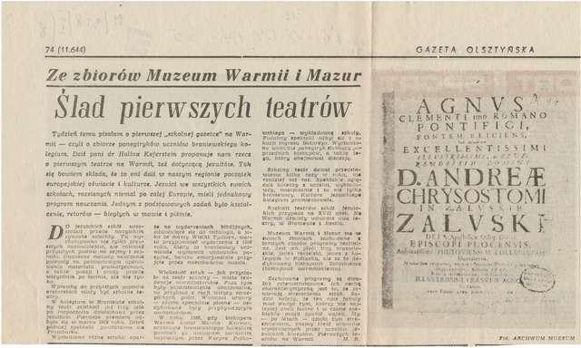 """W """"Gazecie Olsztyńskiej"""", w cyklu Ze zbiorów Muzeum Warmii i Mazur, Marleta Bułatek kontynuuje opowieść o drukach jezuickich z Braniewa.  - full image"""