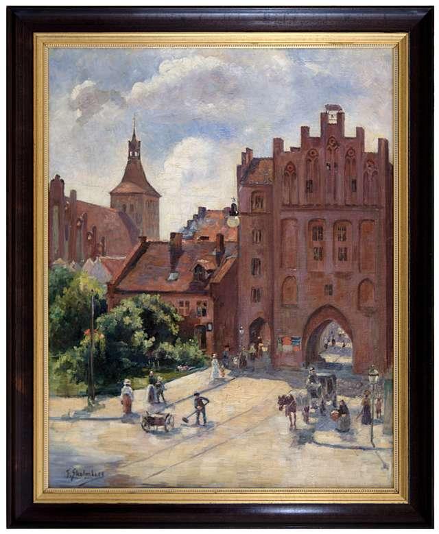 Obraz olsztyńskiej malarki Friedy Strohmberg (1885–1940) - Brama Górna i fara św. Jakuba w Olsztynie. - full image