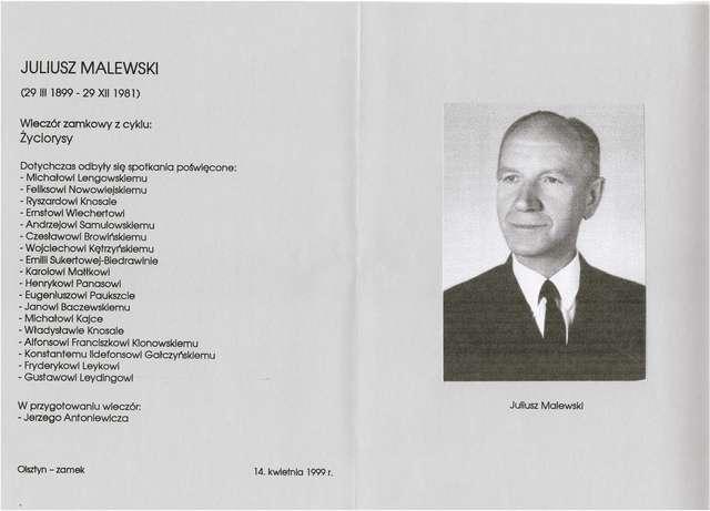 """XX Wieczór zamkowy z cyklu """"Życiorysy"""": Juliusz Malewski (1899–1981) - full image"""
