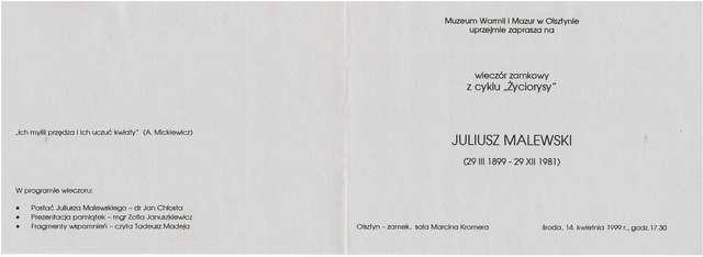 """XX Wieczór zamkowy z cyklu """"Życiorysy"""": Juliusz Malewski (1899–1981)"""