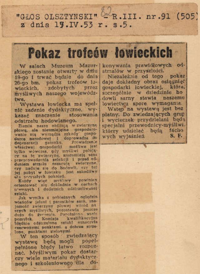 Na zamku w Olsztynie otwarto tygodniowy (do 26 kwietnia) pokaz trofeów łowieckich, zdobytych przez myśliwych województwa olsztyńskiego - full image