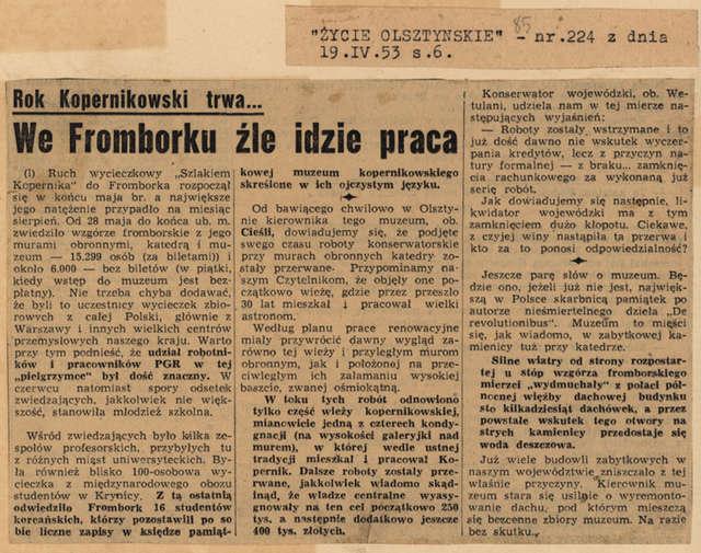 """""""Życie Olsztyna"""" zwraca uwagę swych czytelników, że choć Rok Kopernikowski trwa – to we Fromborku źle idzie praca - full image"""