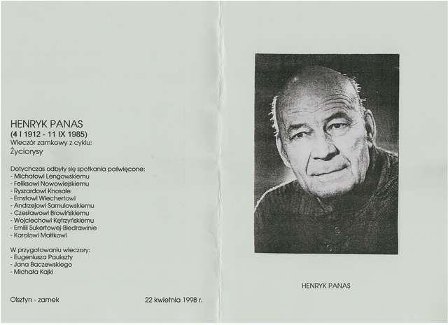 """X Wieczór zamkowy z cyklu """"Życiorysy"""" – Henryk Panas (1912–1985) - full image"""