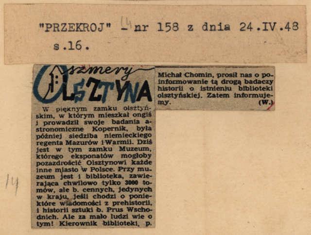 """Krakowski """"Przekrój"""" zachęcał swych czytelników do odwiedzenia w zamku Muzeum - full image"""
