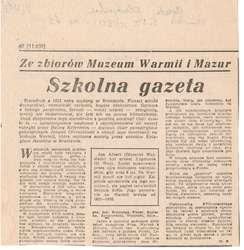 """W """"Gazecie Olsztyńskiej"""" (cykl Ze zbiorów Muzeum Warmii i Mazur) ukazał się artykuł Marlety Bułatek."""