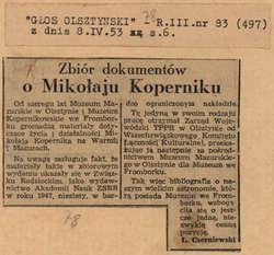 Zarząd Wojewódzki TPPR w Olsztynie przekazał do Muzeum Mikołaja Kopernika we Fromborku pracę o życiu i działalności Kopernika na Warmii i Mazurach.