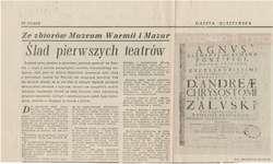 """W """"Gazecie Olsztyńskiej"""", w cyklu Ze zbiorów Muzeum Warmii i Mazur, Marleta Bułatek kontynuuje opowieść o drukach jezuickich z Braniewa."""