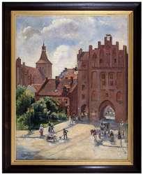Obraz olsztyńskiej malarki Friedy Strohmberg (1885–1940) - Brama Górna i fara św. Jakuba w Olsztynie.