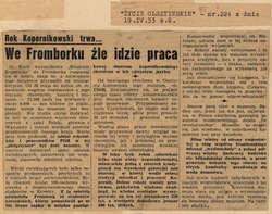 """""""Życie Olsztyna"""" zwraca uwagę swych czytelników, że choć Rok Kopernikowski trwa – to we Fromborku źle idzie praca"""