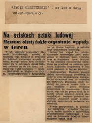 """""""Życie Olsztyńskie"""" opisuje niedzielny wypad kustosza Hieronima Skurpskiego w stronę Maniek i Gietrzwałdu"""