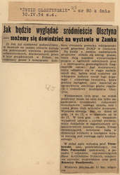 """""""Życie Olsztyńskie"""" opisuje okoliczności zorganizowania wystawy projektów urbanistycznych otoczenia pomnika wdzięczności przed gmachem DOKP."""