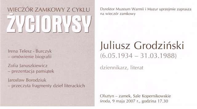 """Wieczór zamkowy z cyklu """"Życiorysy"""": Juliusz Grodziński (1934–1988) dziennikarz, literat.  - full image"""