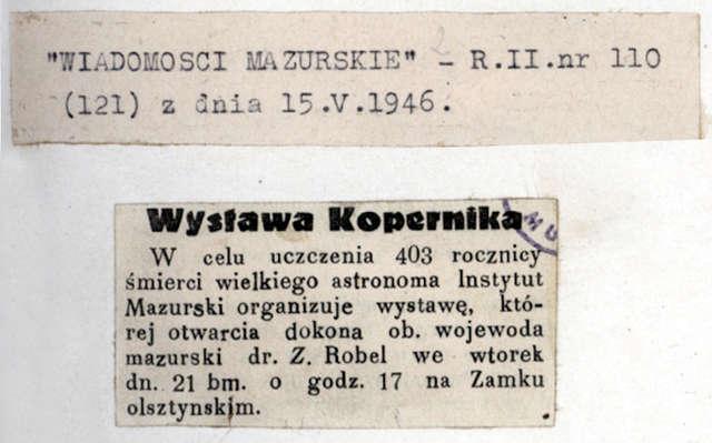 """""""Wiadomości Mazurskie"""" zapowiedziały otwarcie wystawy """"w celu uczczenia"""" 403. rocznicy śmierci Mikołaja Kopernika.  - full image"""
