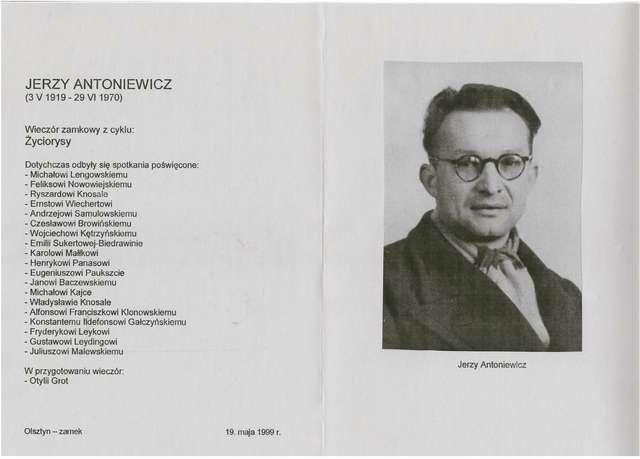 """Wieczór zamkowy z cyklu """"Życiorysy"""": Jerzy Antoniewicz (1919–1970).  - full image"""