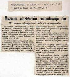 """""""Wiadomości Mazurskie"""" donosiły, że """"Muzeum olsztyńskie rozbudowuje się""""."""