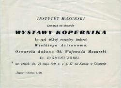 Na zamku w  Olsztynie otwarto Wystawę Kopernika ku czci 403-ej rocznicy śmierci Wielkiego Astronoma.