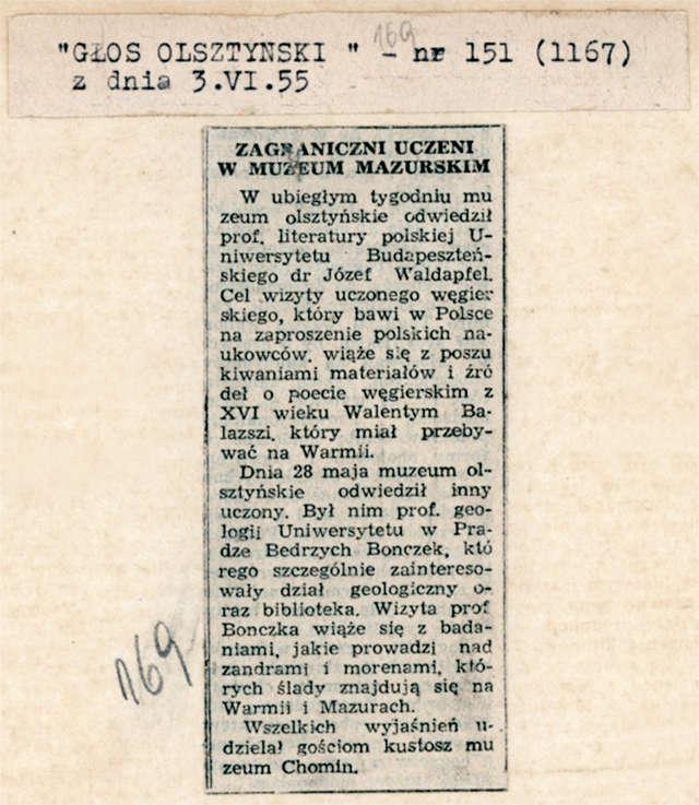 Głos Olsztyński informował o wizytach w Muzeum Mazurskim zagranicznych uczonych. - full image