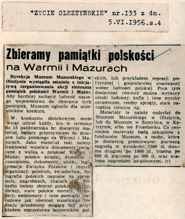 """""""Życie Olsztyńskie"""" informowało czytelników, że Dyrekcja Muzeum Mazurskiego wystąpiła z inicjatywą zorganizowania akcji zbierania pamiątek polskości Warmii i Mazur. - full image"""