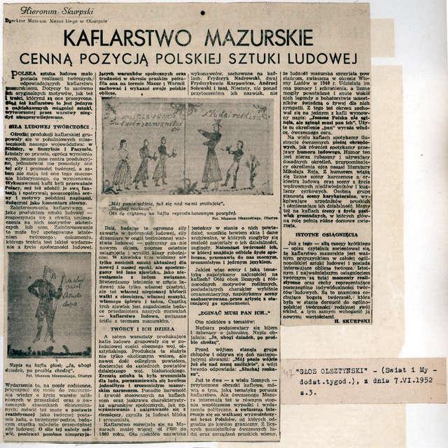 Artykuł pt.: Kaflarstwo mazurskie cenną pozycją polskiej sztuki ludowej.  - full image