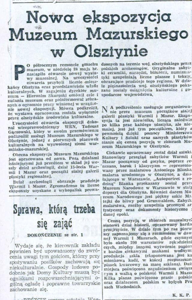 """""""Słowo na Warmii i Mazurach"""" informowało czytelników: """"Po półrocznym remoncie gmachu muzeum, w niedzielę 28 maja br., nastąpiło otwarcie nowej wystawy muzealnej...  - full image"""