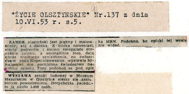 """""""Życie Olsztyńskie"""" zwraca uwagę, że """"sterty papierów i śmieci zalegające otoczenie zamku... - full image"""