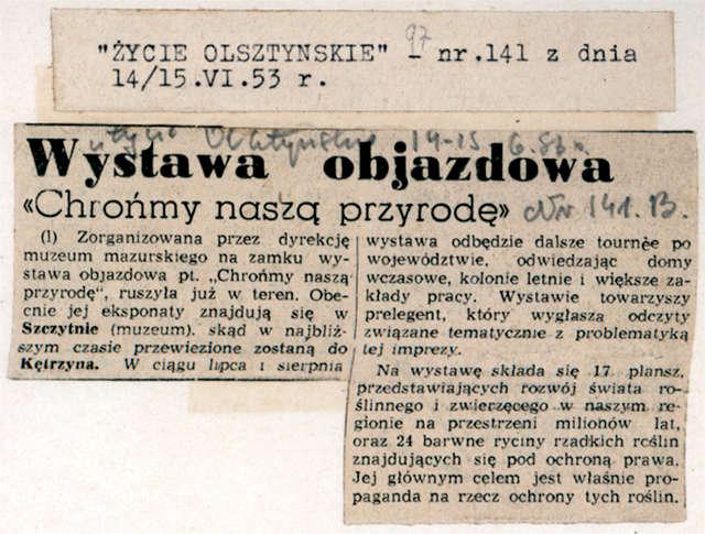 """""""Głos Olsztyński"""" z 11 i """"Życie Olsztyńskie"""" z 14/15 czerwca informowały o wyruszeniu w teren objazdowej wystawy pt.: Chrońmy naszą przyrodę.  - full image"""