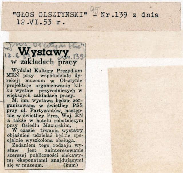 """Głos Olsztyński"""" awizował pomysł organizowania wystaw przyrodniczych w większych zakładach pracy. - full image"""