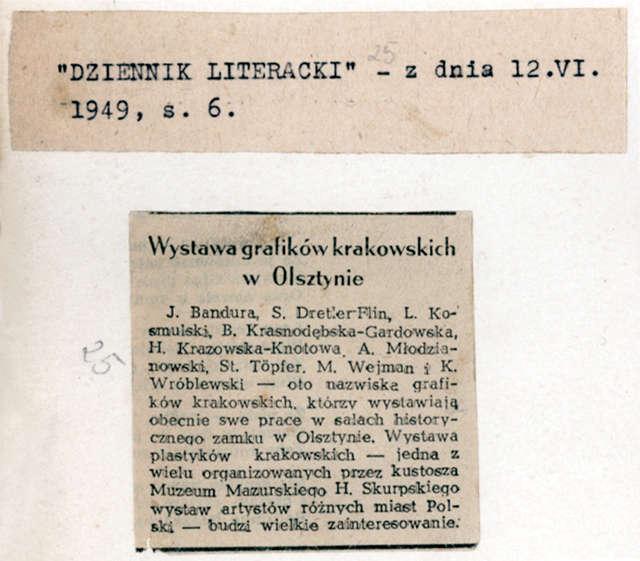 """""""Dziennik Literacki"""" zamieścił wzmiankę o otwartej 29 maja, """"budzącej wielkie zainteresowanie"""", wystawie Grupy 9 grafików.  - full image"""