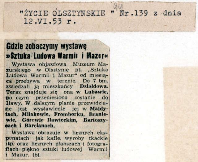 """Życie Olsztyńskie"""" informowało o objazdowej wystawie sztuki ludowej. - full image"""