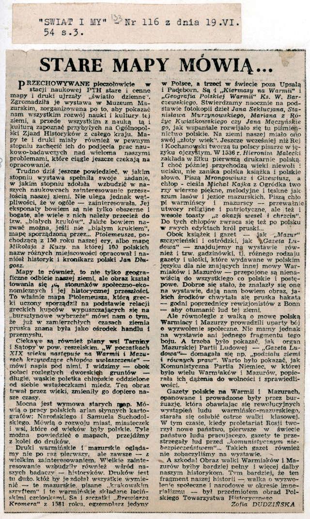"""W dodatku Świat i My"""" do """"Gazety Olsztyńskiej"""" Zofia Dudzińska szczegółowo omówiła wystawę starych map i druków. - full image"""