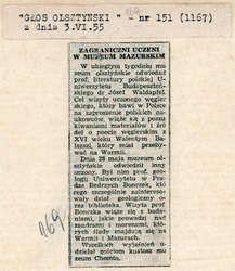 Głos Olsztyński informował o wizytach w Muzeum Mazurskim zagranicznych uczonych.