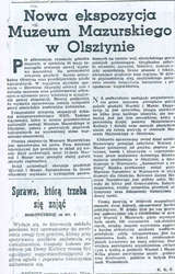 """""""Słowo na Warmii i Mazurach"""" informowało czytelników: """"Po półrocznym remoncie gmachu muzeum, w niedzielę 28 maja br., nastąpiło otwarcie nowej wystawy muzealnej..."""
