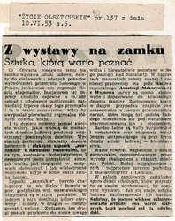 """Na tej samej s. 5, gdzie mowa o brudach w otoczeniu zamku, """"Życie Olsztyńskie"""" chwali wystawę sztuki ludowej różnych regionów naszej Ojczyzny."""