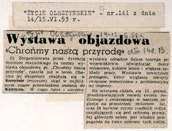 """""""Głos Olsztyński"""" z 11 i """"Życie Olsztyńskie"""" z 14/15 czerwca informowały o wyruszeniu w teren objazdowej wystawy pt.: Chrońmy naszą przyrodę."""
