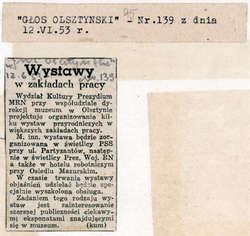 """Głos Olsztyński"""" awizował pomysł organizowania wystaw przyrodniczych w większych zakładach pracy."""