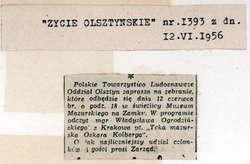 Mgr Władysław Ogrodziński z Krakowa wygłosił na zebraniu olsztyńskiego oddziału Polskiego Towarzystwa Ludoznawczego odczyt pt.: Teka mazurska Oskara Kolberga.