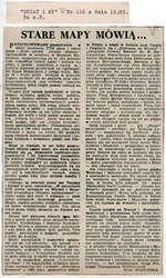 """W dodatku Świat i My"""" do """"Gazety Olsztyńskiej"""" Zofia Dudzińska szczegółowo omówiła wystawę starych map i druków."""