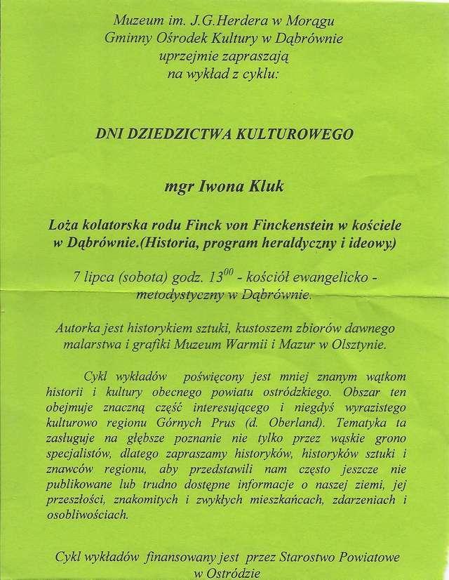Wykład Iwony B. Kluk: Loża kolatorska rodu Finck von Finckenstein w kościele w Dąbrównie.  - full image