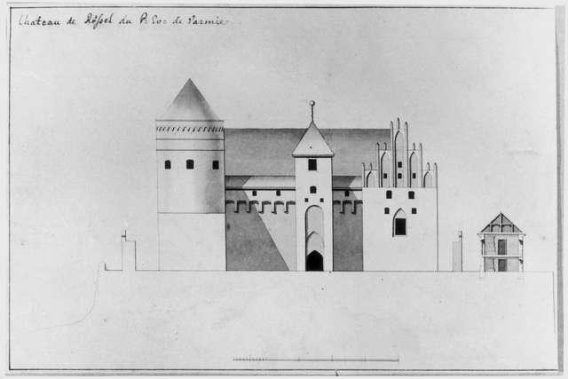 Widok zamku w Reszlu. Rysunek pomiarowy ze zbiorów Muzeum Narodowego w Krakowie. - full image