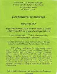 Wykład Iwony B. Kluk: Loża kolatorska rodu Finck von Finckenstein w kościele w Dąbrównie.