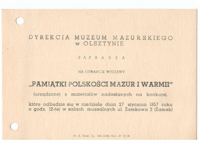 Wystawa – Pamiątki polskości mazur i Warmii  - full image
