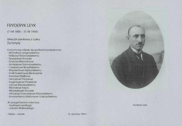 """Wieczór zamkowy – cykl """"Życiorysy"""" (Fryderyk Leyk) - full image"""